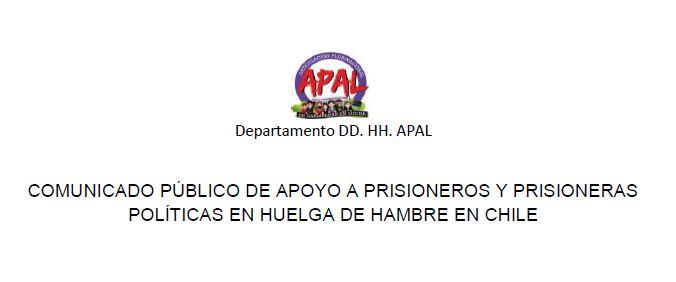 [Audio] Comunicado de APAL en apoyo a prisioneros y prisioneras políticas en huelga de hambre en Chile